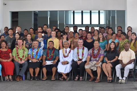 Participants' group photo at the Third Pacific Climate Outlook Forum at Taumeasina Island Resort, Samoa. Photo: S.Seuseu/SPREP