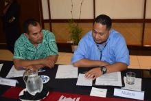 Participants from Tonga and Nauru discussing key target groups for Communications Strategy.  Photo: S.Seuseu/SPREP